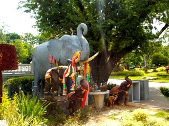 Elephants are revered and offerings are always made