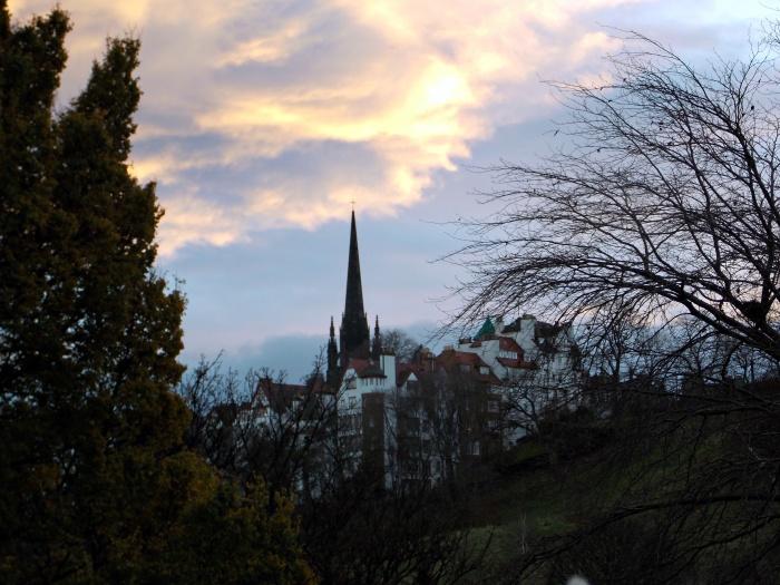 Sun rising over Edinburgh