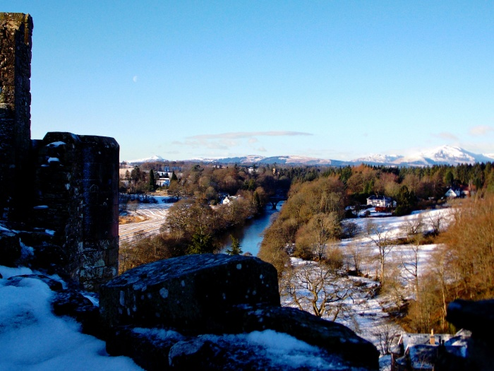 Wide open view of the Scottish countryside from Doune Castle