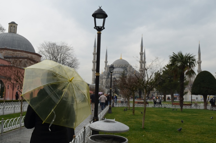 Yellow umbrella in Istanbul