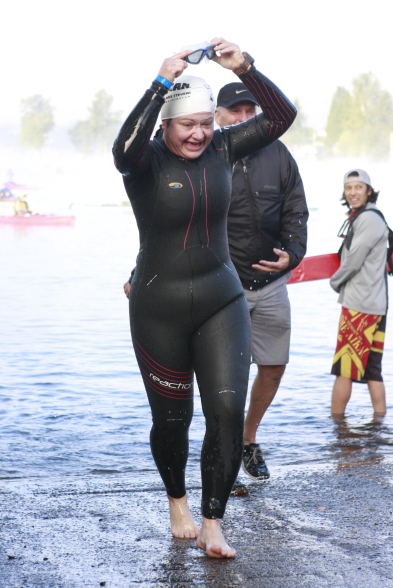 Lake Stevens Ironman70.3 Swim Finish